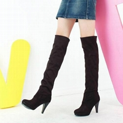 Suede Women's Stiletto Heel Riding Boots Knee High Boots