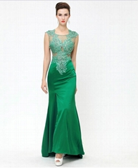Women's Embroider Split Fish-tail Floor-length Evening Party Dress