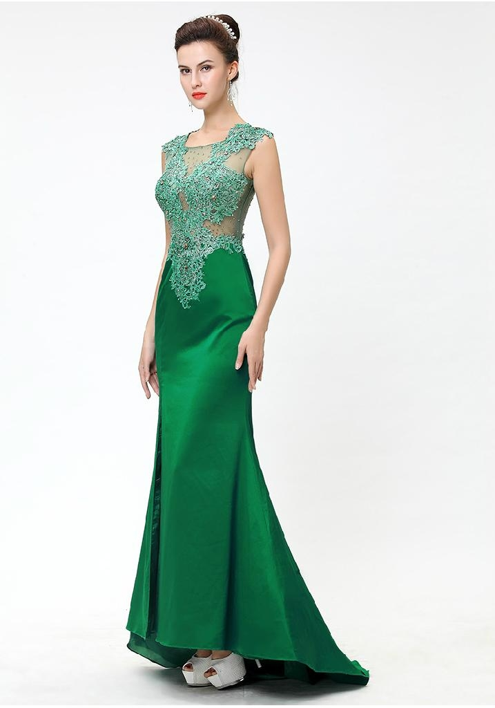 Women's Embroider Split Fish-tail Floor-length Evening Party Dress ...