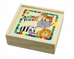 4 Piece Animals Jigsaw Puzzle With Wooden Box