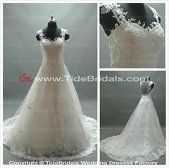 2014 cap sleeve sheer back appliques and lace ball gown wedding dress