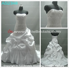 sheath bodice ball gown ruched wedding dresses with appliques and beaded