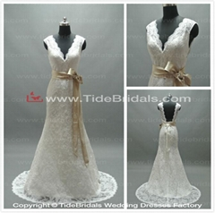 deep v neck backless lace wedding bridal gowns with satin sashes