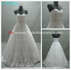 2014 new design ball gowns beaded waistline lace wedding dresses