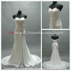 sweetheart lace appliques with train long chiffon wedding dresses (as1889)