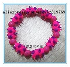 silicone spike beaded bracelet rainbow