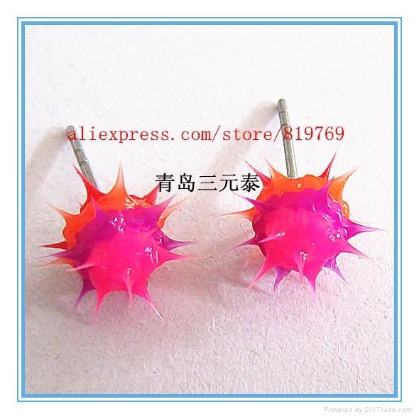 fashion silicone spike koosh ball earrings silicone spike earrings 2