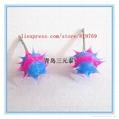 fashion silicone spike koosh ball earrings silicone spike earrings 3