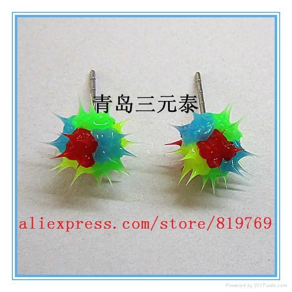 fashion silicone spike koosh ball earrings silicone spike earrings 4