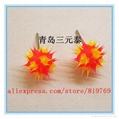 fashion silicone spike koosh ball earrings silicone spike earrings 5