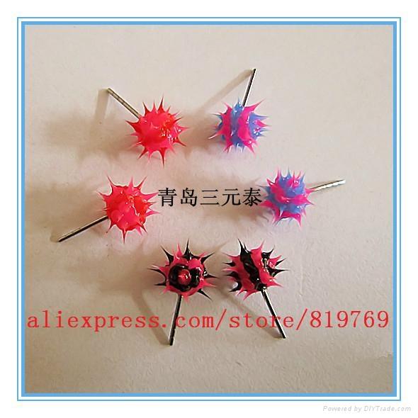fashion silicone spike koosh ball earrings silicone spike earrings 1