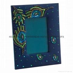 手工珠绣相框 串珠亮片镜框