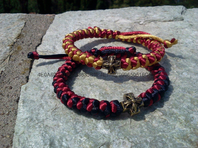 廠家直銷禱告繩結 打結編織手鏈 蠟繩編織祈禱繩  5