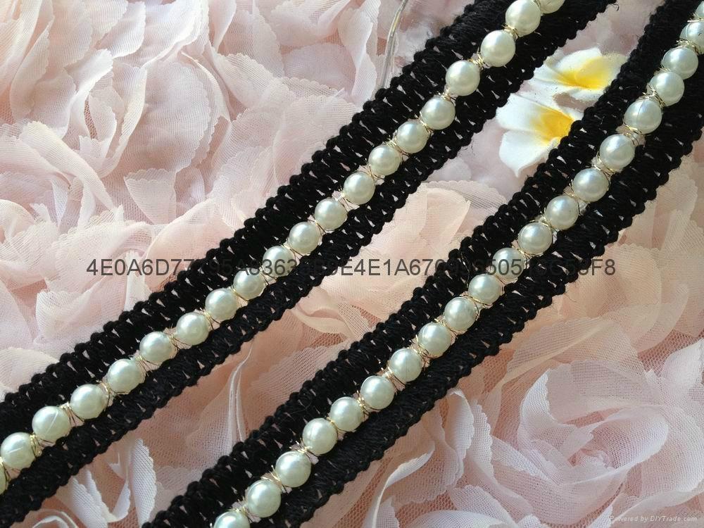 钉珠花边 手缝钻条码 珠绣条带 1