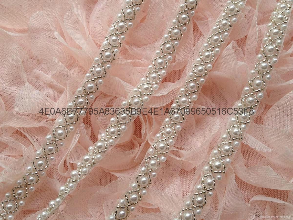 钉珠花边 手缝钻条码 珠绣条带 4
