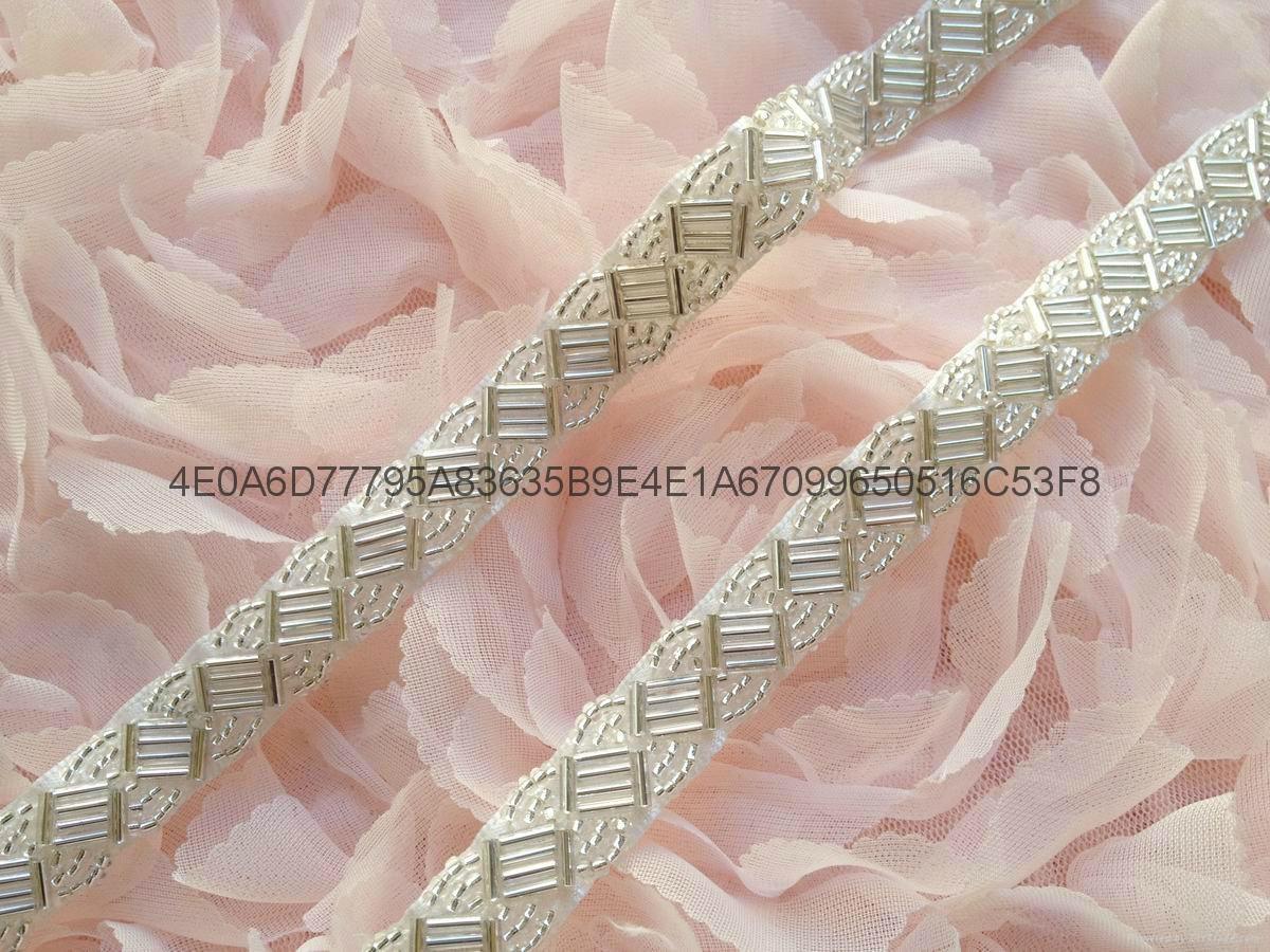 钉珠花边 手缝钻条码 珠绣条带 5