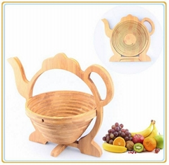Teapot Shape Bamboo Basket for Fruit