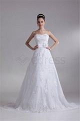 A-Line Sleeveless Sweetheart Satin Lace Wedding Dresses