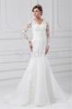 V-neck Long Sleeve Satin Organza Mermaid/Trumpet Wedding Dresses