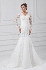 V-neck Long Sleeve Satin Organza Mermaid/Trumpet Wedding Dresses