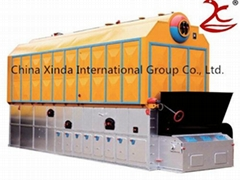 Horizontal chain grate steam boiler