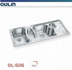 Oulin stainless steel durable triple bowl sink
