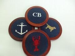 Hand Stitched Needlepoint Coaster Wooden Coaste Set