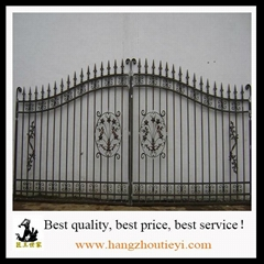 Black wrought iron front security main door double gate decoration