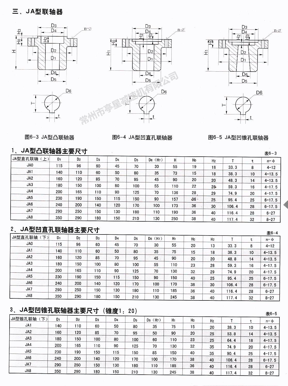 JA机架配套联轴器安装尺寸表