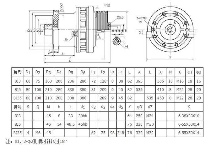 BJ系列擺線針輪減速機外形安裝尺寸選型表