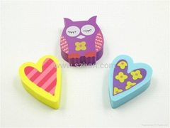 Silk-screen print flat die cut rubber eraser