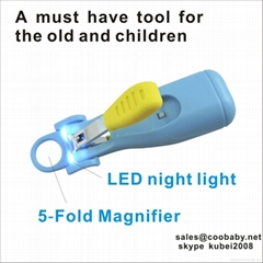 LED night light baby nail clipper with 5-fold magnifier