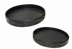 Round Decorative Tray, Set of 2