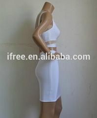 Wholesale white lace lady dress sexy celebrity 2 piece bandage dress