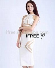 two pcs mesh sexy unique design Bandage Party Evening Dress