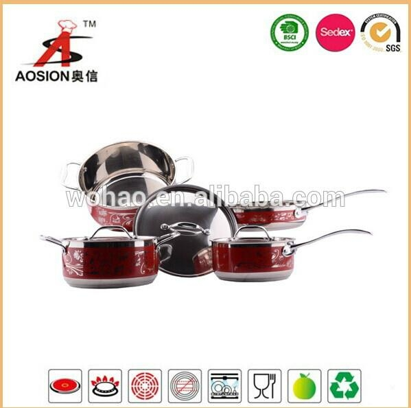 hot new product stainless steel cookware with 9pcs 2
