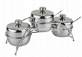 3pcs stainless steel cruet set with iron