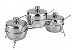 3pcs stainless steel cruet set with iron rack