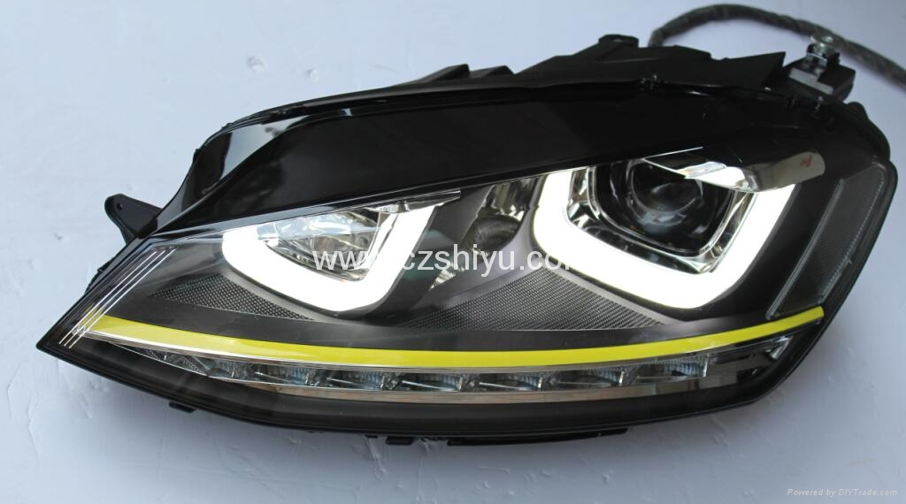 For Volkswagen Golf 7 Headlight Gti R400 Double U Led