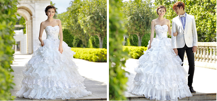 抹胸齊地婚紗  2