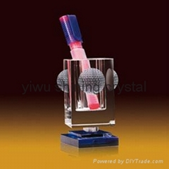 crystal glass office stationery with pen holder and name card holder