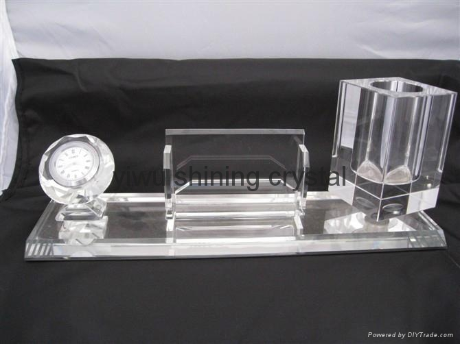 crystal glass office stationery with pen holder and name card holder 5