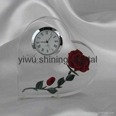 crystal glass table clock for corporate business gifts