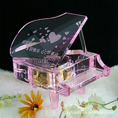 crystal glass piano music box instrument  for teacher student gifts