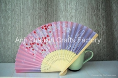 Colored Fabric Bamboo Sticks Fans For Promotion