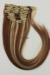 Factory Wholesale 100% Human Hair Clip In Hair Extension