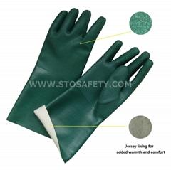 gauntlet PVC coated gloves