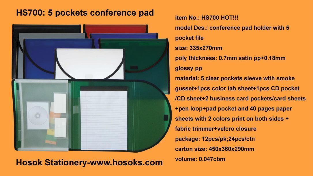 HS700 conference pad holder with 5 pocket file 1