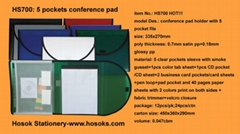 HS700 conference pad holder with 5 pocket file
