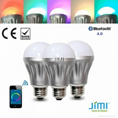 bluetooth led bulb light jimi wireless LED Bulb smartphone controlled led bulb